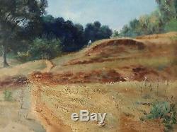 Tableau ancien huile sur bois paysage Alger Algérie 1897 J. F. BOUVAGNET XIXème