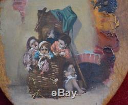 Tableau ancien, huile sur palette fin XIXème. Enfants