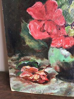 Tableau ancien huile sur panneau à définir (XIXe-s) nature morte aux fleurs
