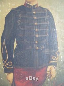 Tableau ancien huile sur panneau photo portrait homme officier militaire 19e