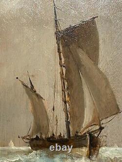 Tableau ancien marine Ecole Française De La Fin Du 19ème Siècle Voiliers Si