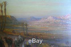 Tableau, ancien, orientaliste, Oasis, vallée du Nil, Brouard, Egypte
