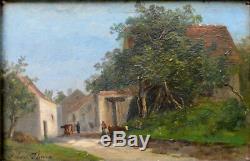 Tableau ancien par Albert-François Fleury 1848-1925. L'entrée du village
