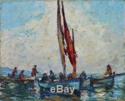 Tableau ancien par Louis Léon Pastour 1876-1948. Bateaux de pêche