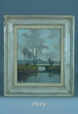 Tableau ancien paysage animé Baie de Somme Peuplier Pierre Courtois Alex. Jacob