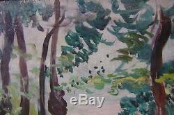 Tableau, ancien, paysage aux arbres, Lucien Mainssieux