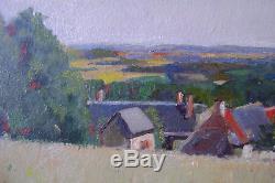 Tableau, ancien, paysage, maisons, Amariglio Louis, Montezin