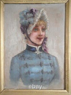 Tableau ancien peinture 19 siècle portrait buste jeune femme costume chapeau