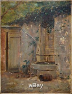 Tableau ancien, peinture, École de Barbizon. Le puits