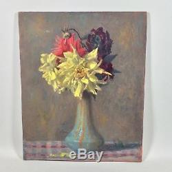 Tableau ancien, vers 1900, bouquet de fleurs