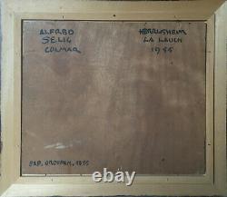Tableau d'Alfred SELIG (1907-1974) vue de Herrlisheim La lauch 1955