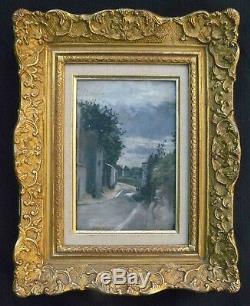 Tableau début XX° Montmartre  paysage de rue (sur panneau cigare) + cadre