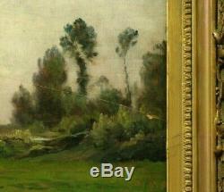 Tableau fin 19ème Armand Auguste Balouzet Paysage à la rivière