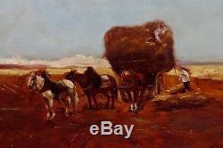 Tableau fin 19ème les moissons char à foin impressionnisme