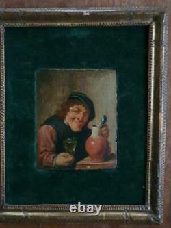Tableau flamand du XVIIème siècle. Portrait d'un buveur