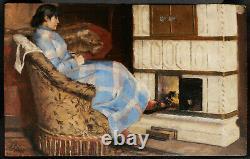 Tableau huile panneau femme poêle scène d'intérieur intimiste 19ème siècle XIXè