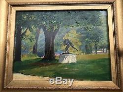 Tableau huile sur Bois, paysage, cadre doré Jardin Du Luxembourg Paris 1942