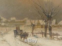Tableau huile sur bois Signé Joseph MILLION (1861-1931) paysage de neige