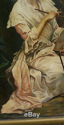 Tableau huile sur bois autoportrait femme peintre artiste dans son atelier