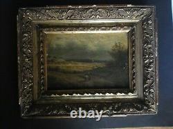 Tableau huile sur bois d'un paysage et personnage signé Gabrielli