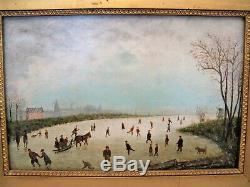 Tableau huile sur bois école Hollandaise scène en hivers époque fin XIX siècle