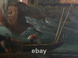 Tableau huile sur bois marine scène de pêche à la ligne