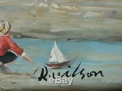 Tableau huile sur bois marine scène de plage R. WILSON milieu XXème