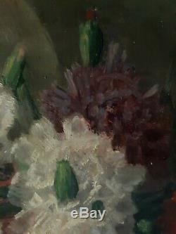 Tableau huile sur bois nature morte fleurs oeillets Edgard BREYNE début XXème