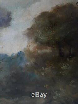 Tableau huile sur bois paysage animé XIXème 19ème (signé)