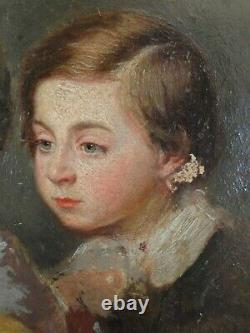 Tableau huile sur bois portrait femme enfant au perroquet encadré 1848