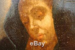 Tableau huile sur bois religieux Vierge à l'enfant XVIIIe
