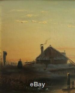 Tableau huile sur carton marine animée 1888 XIXème signé cadre bois stuc doré