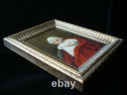 Tableau huile sur carton portrait miniature enfant robe Empire 1812