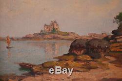 Tableau huile sur panneau Brugairolles 1869-1936 Golfe du Morbihan Bretagne