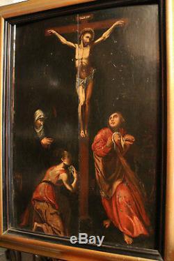 Tableau huile sur panneau époque 17e Jésus Christ sur la Croix painting