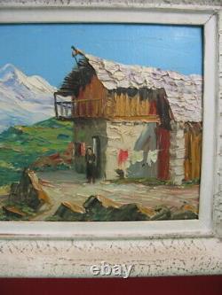 Tableau huile sur panneau, paysage montagne, VIGON Louis Hautes Alpes, Ecole Rouen