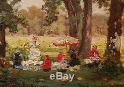 Tableau impressionniste Déjeuner sur l'herbe scène parc jardin impressionnisme