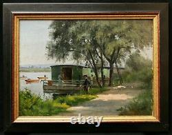 Tableau impressionniste huile paysage bord rivière bateau lavoir pêcheur pêche