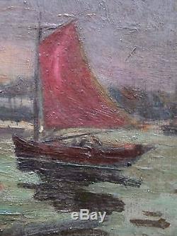 Tableau impressionniste signé Emile CAGNIART, Port animé, circa 1880