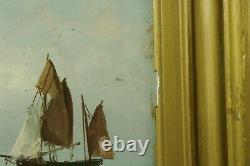 Tableau marine Bateaux 19ème sur bois signature