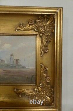 Tableau marine époque XIXe siècle- huile sur bois signé- bateau-phare-mer-oiseau