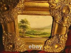Tableau miniature / ancienne Huile sur bois (18/13 cm), paysage style barbizon