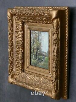 Tableau miniature huile Ecole de Barbizon Oil Painting XIXe Paysage cadre à clés