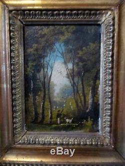 Tableau miniature peinture BARBIZON XIXe PAYSAGE chasseur TRACE DE SIGNATURE
