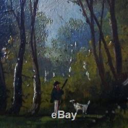 Tableau miniature peinture HSP BARBIZON XIXe PAYSAGE chasseur, à identifier