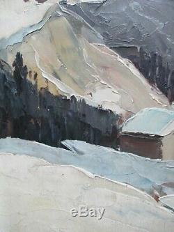 Tableau peinture huile paysage d'hiver Tignes Nancie POIGNANT Femme de Lucien