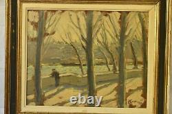 Tableau peinture huile sur bois Paysage (quai de seine, Paris) R. Fleurent