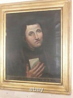 Tableau peinture huile sur toile portrait ancien encadrement bois doré