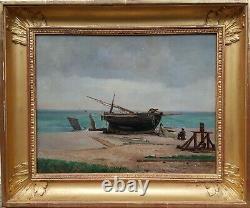 Tableau peinture marine MORLON FECAMP bateau plage mer NORMANDIE 19e français