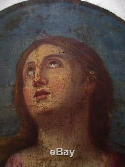 Tableau peinture ovale huile / Bois Marie Madeleine repentante XVIIIe 18e